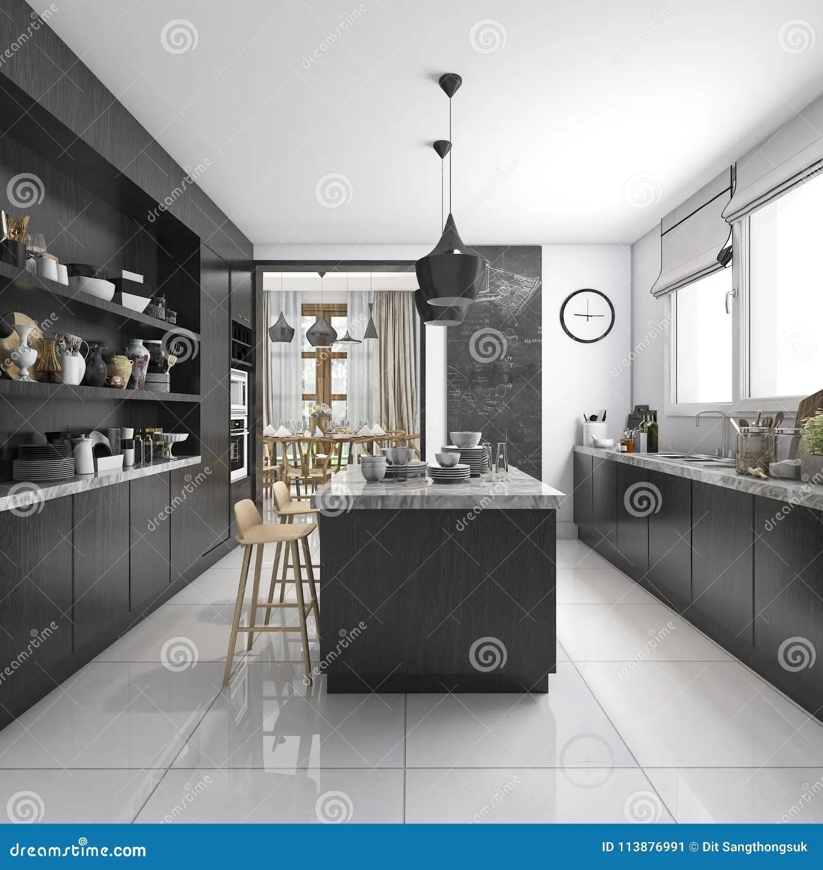 https fr dreamstime com d rendant cuisine industrielle style zone dinante en bois noire image113876991