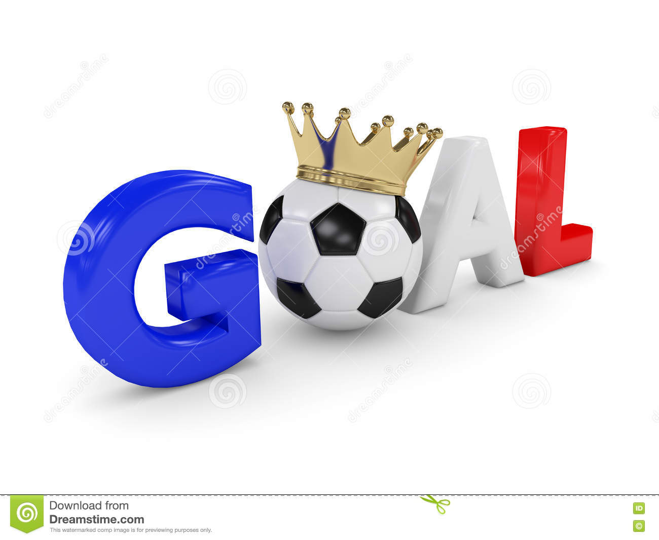 3d Rendered Word Goal With Soccer Ball Isolated On White