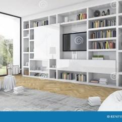Living Room Bean Bags Glass Shelves For 3d Rendering Built In White Shelf With Bag Modern
