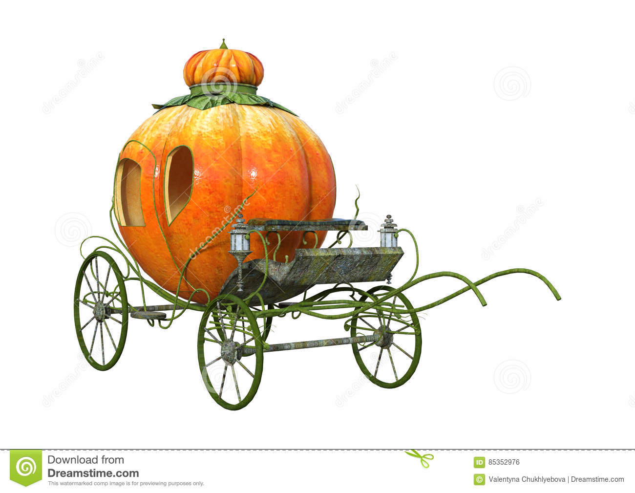 hight resolution of 3d rendering cinderella carriage on white