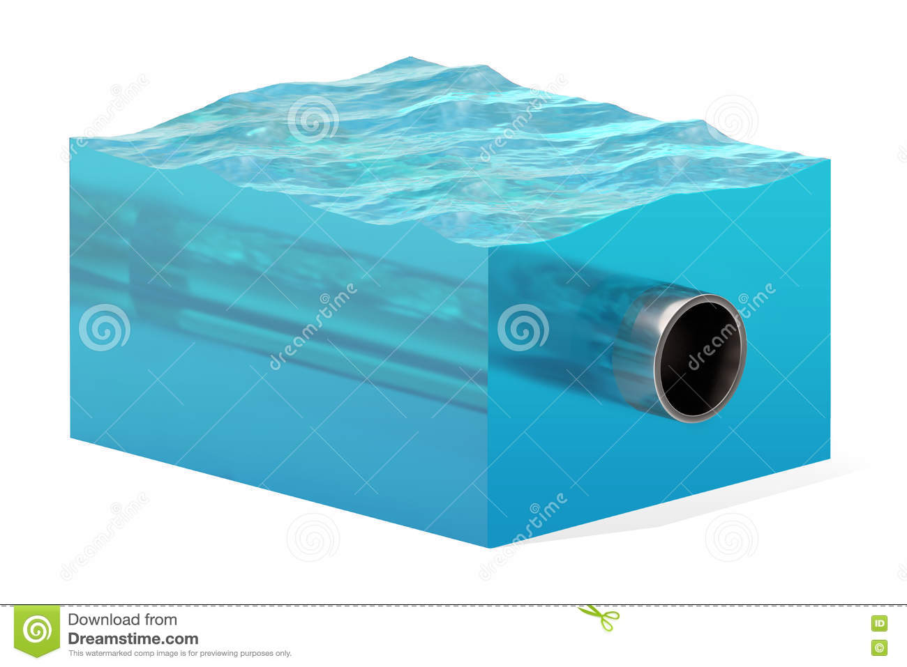 3d Rendering Of Cross Section Of Water Cube With Cylinder