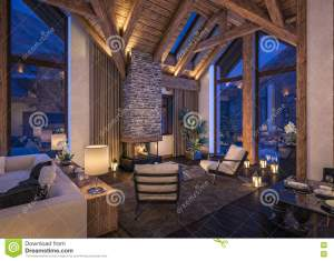 living evening rendering chalet 3d night cozy winter fireplace interior cold carpet candles mountains