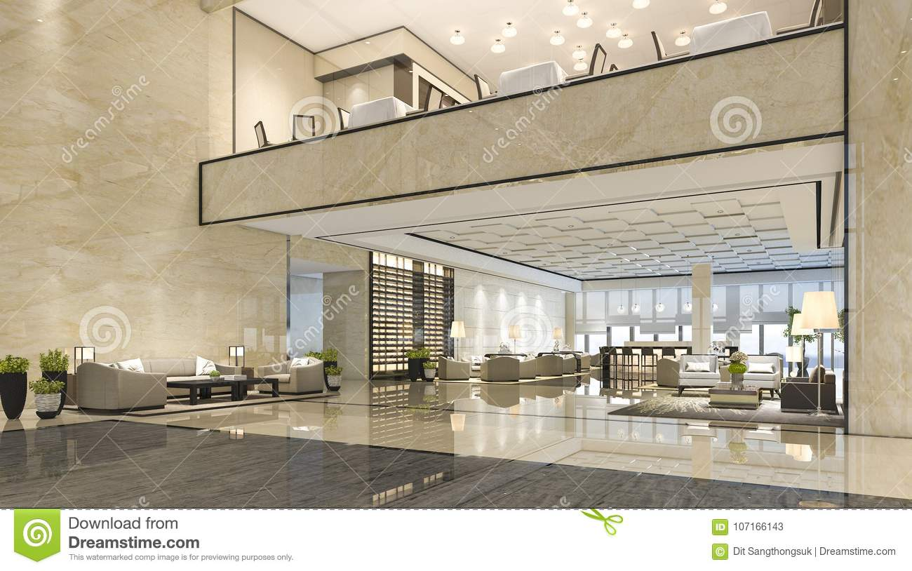 3d Rendering Luxury Hotel Reception Hall And Lounge