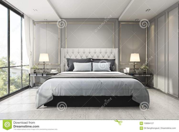 3d Rendering Modern Luxury Classic Bedroom With Marble Decor Stock Illustration Illustration Of Carpet Bedroom 108684127