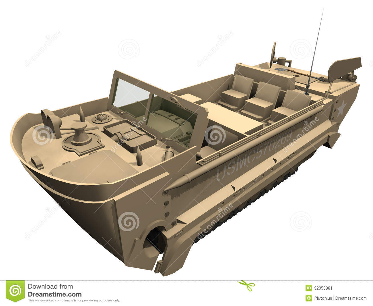 hight resolution of 3d rendering of a m29 weasel