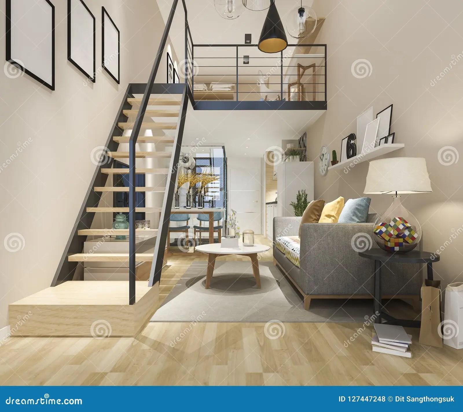 3D Rendering White Wood Living Room Near Stair Minimal Style Stock | Stair Room Exterior Design | 3 Floor Building | Box Type | Brick | Open Plan | Amazing