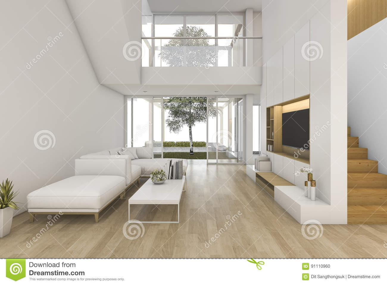 3D Rendering White Wood Living Room Near Stair And Outdoor Stock | Stair Room Exterior Design | 3 Floor Building | Box Type | Brick | Open Plan | Amazing