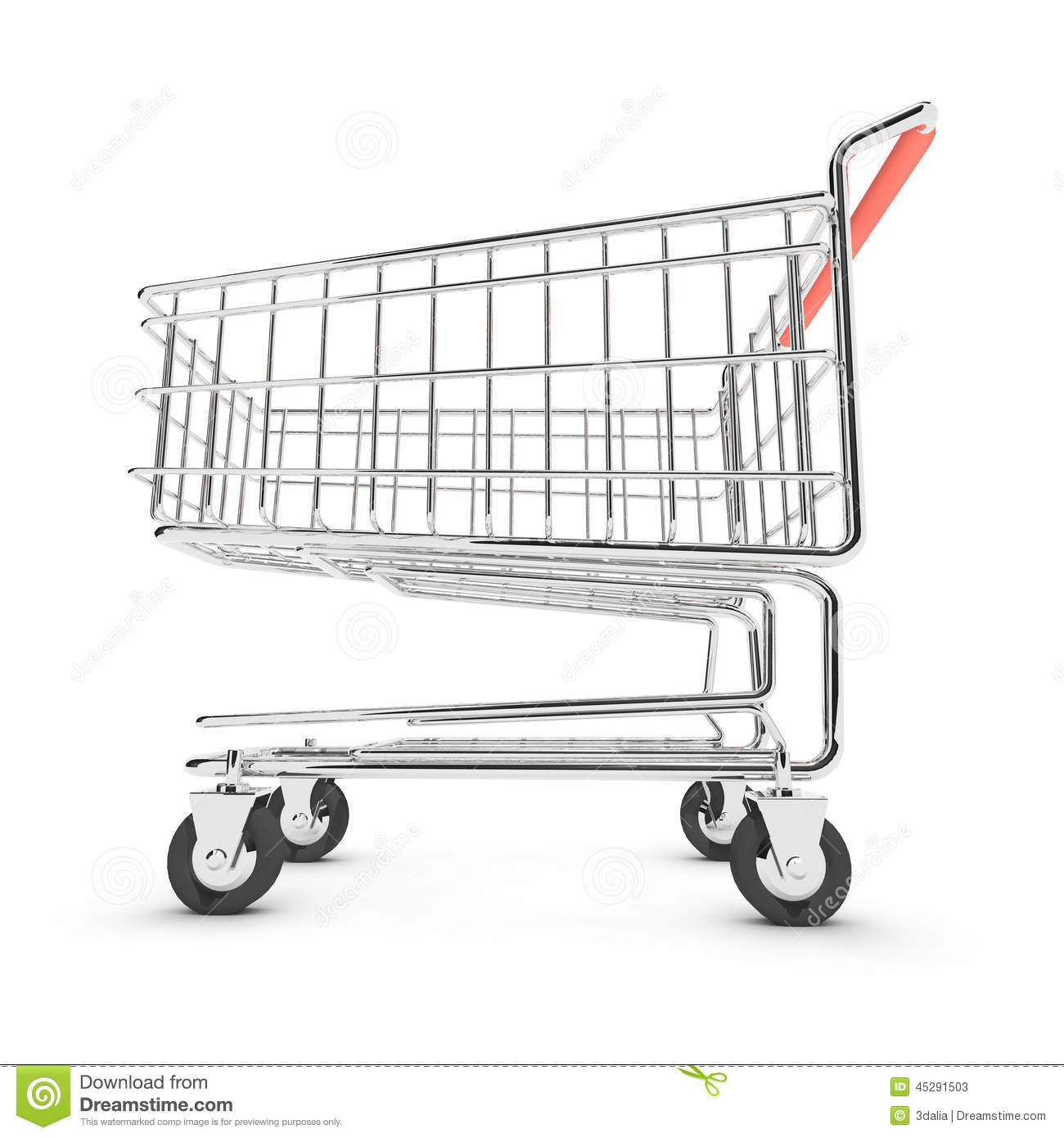3d Shopping Trolley Lower View Stock Illustration