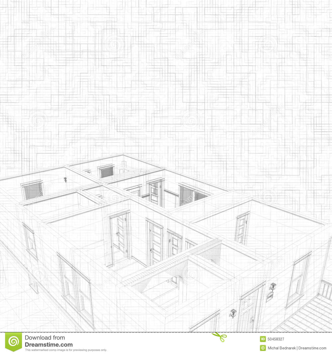 3d Sketch Of A House. Concept Of Architect Project