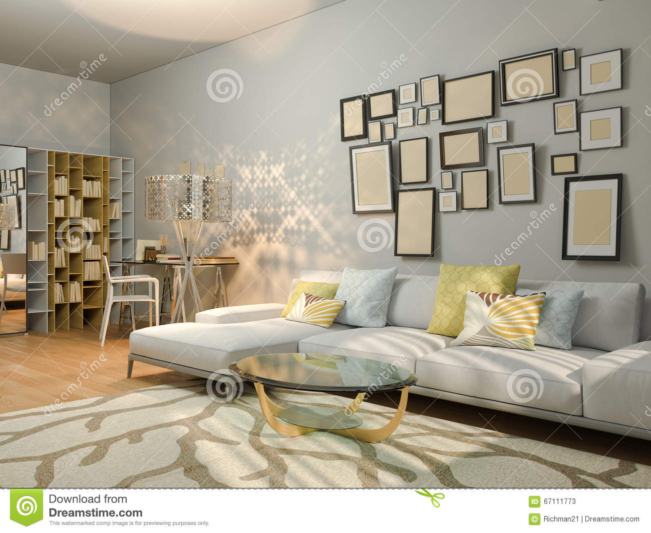 desk in living room apartment decor with light gray walls 3d visualization of interior design a studio render modern minimalist style the illustration shows corner sofa and laptop