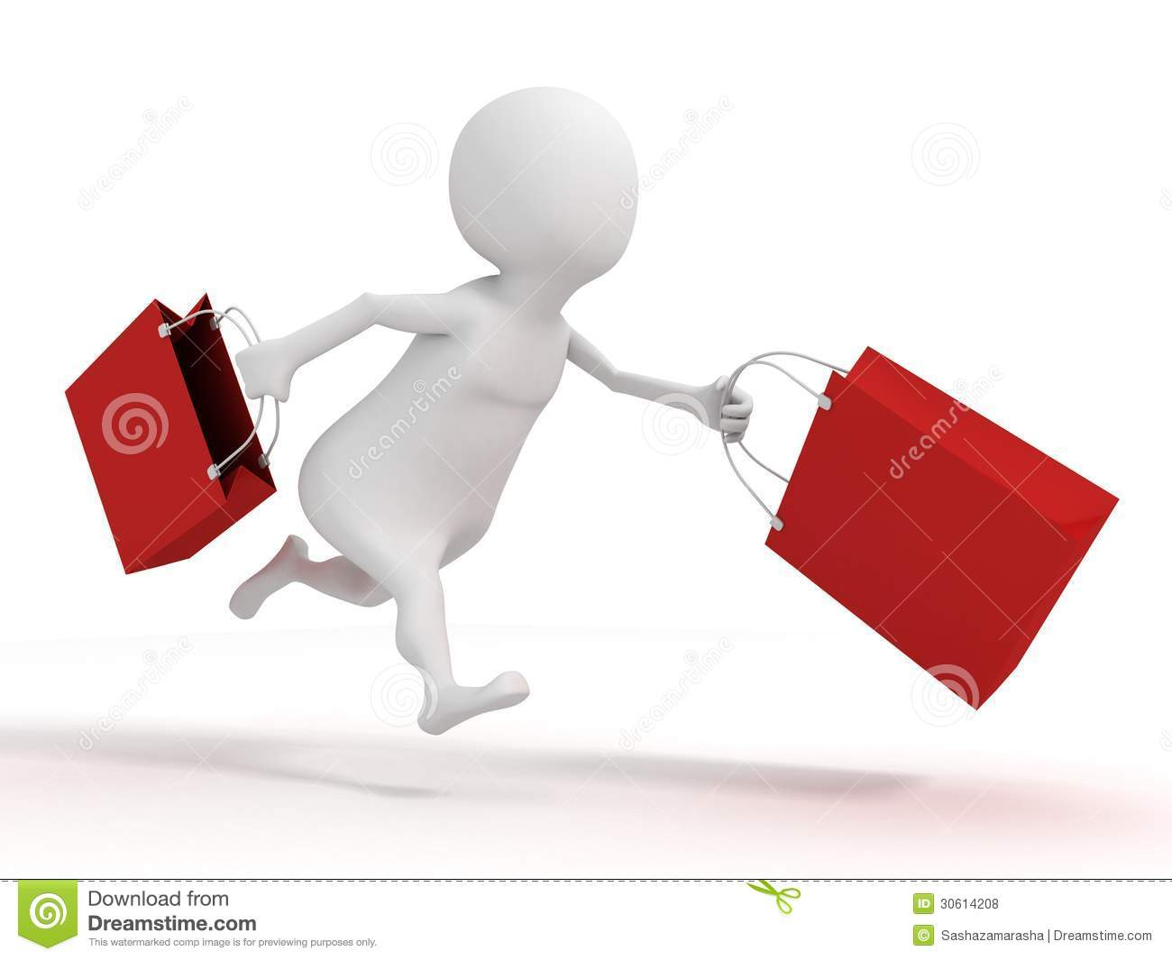 3d White Man Running With Red Shopping Sale Bags Royalty
