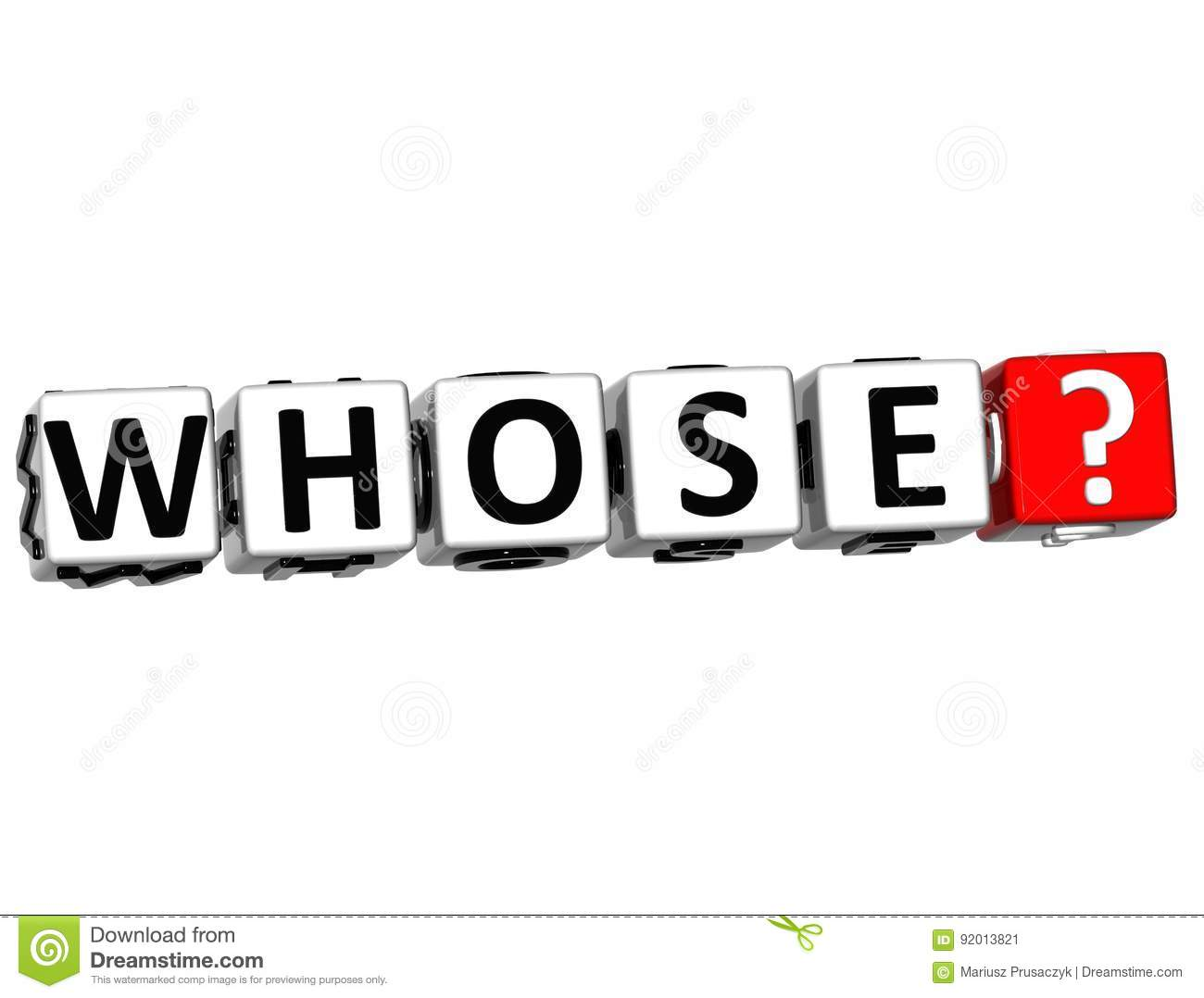 3D Word Whose With Question Mark. Stock Illustration