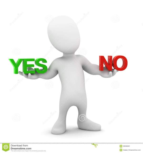 3d Yes Or No Little Man Stock Illustration Image 39596991
