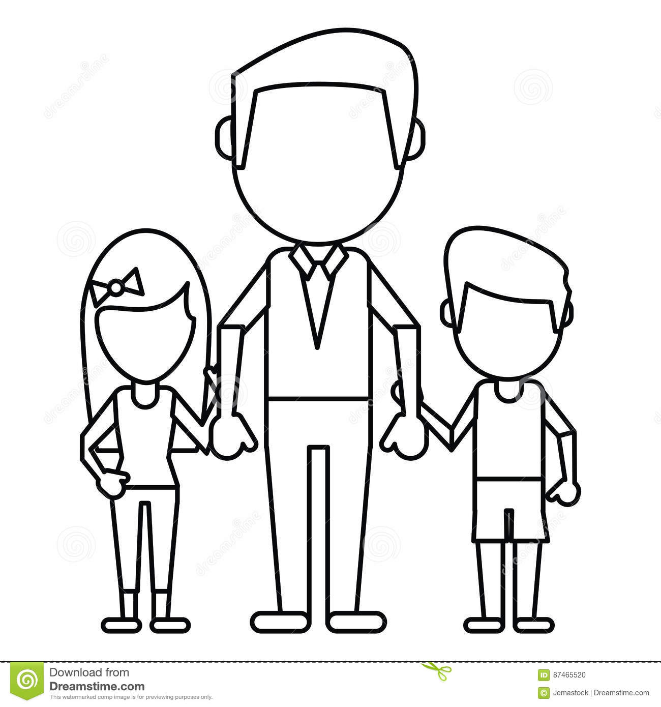 Dad With Daughter Son Holding Hands Thin Line Stock Vector