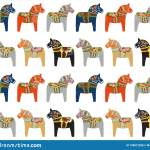 Dala Horse Swedish Folk Art Pattern Stock Vector Illustration Of Wooden Wood 199012288