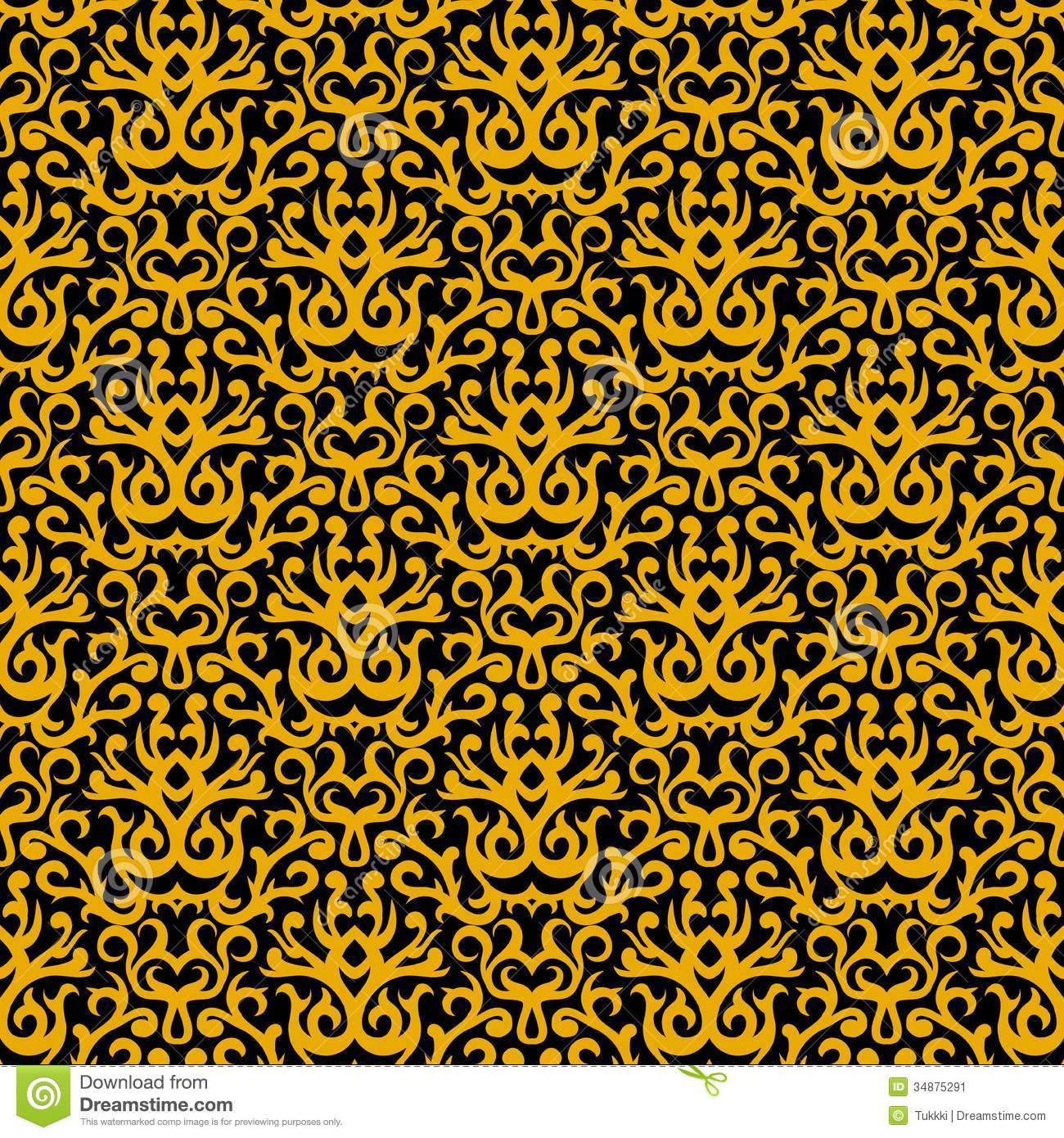 Fall Bohemian Fashion Wallpaper Damask Pattern In Gold On Black Stock Vector