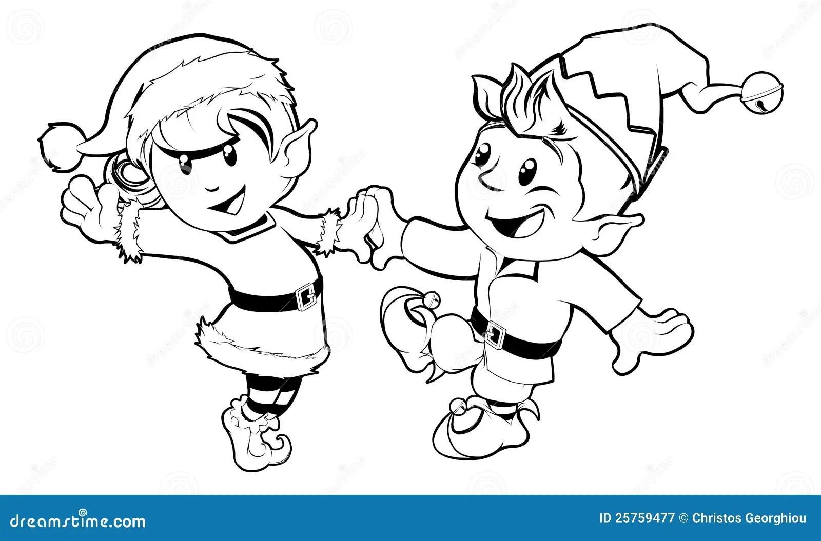 Dancing Di Natale Degli Elfi Illustrazione Vettoriale