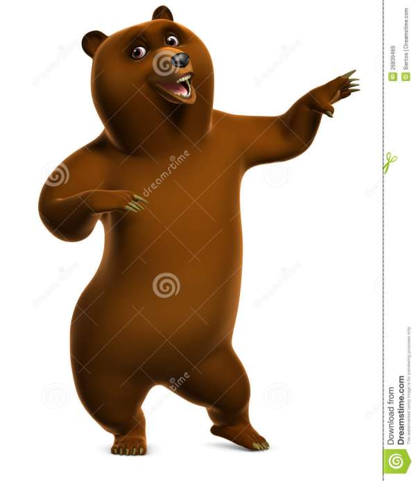 Dancing Grizzly Bear Stock Illustration. Illustration Of