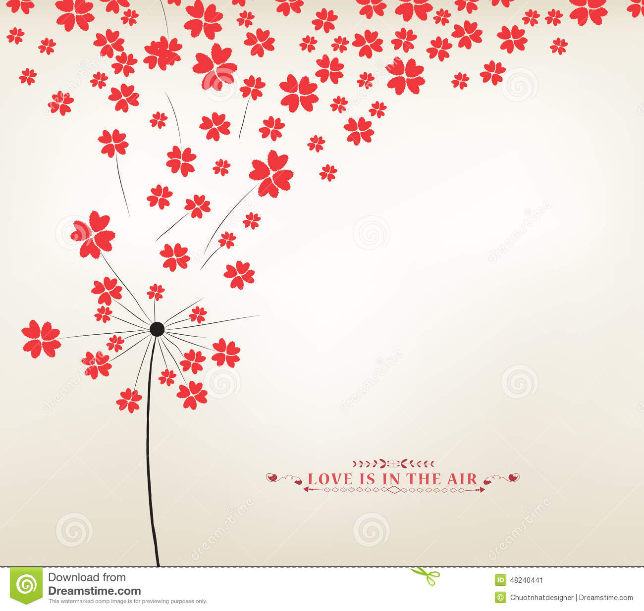 Dandelion Hearts Greeting Card Stock Vector Image 48240441