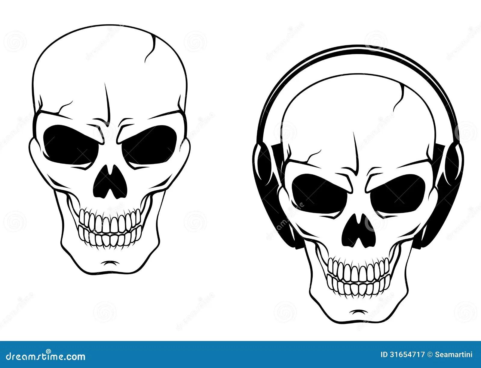 Danger Skull In Headphones Stock Vector Illustration Of
