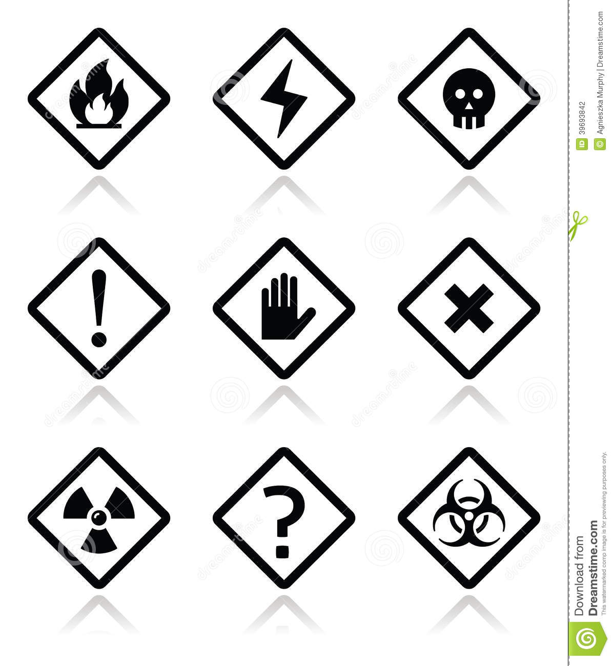 Danger Warning Attention Square Icons Set Stock Vector