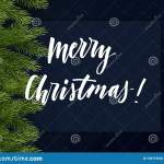 Dark Blue Christmas Background With Green Branches Of Christmas Tree And Lettering Vector Template Stock Vector Illustration Of Pine Design 155719532