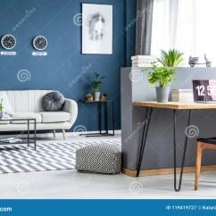 Bright Sofa Contemporary Grey Uk Dark Blue Living Room Interior With Three Clocks Simple Poster And Home