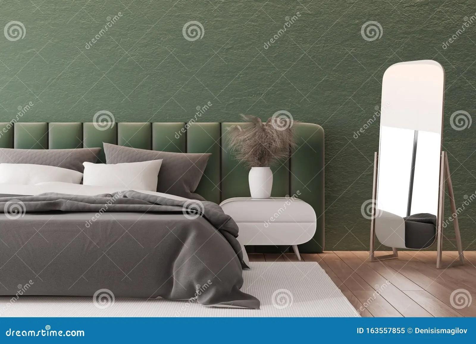 Dark Green Bedroom Interior With Mirror Stock Illustration Illustration Of Bedside Luxury 163557855