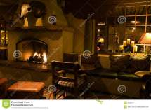 Dark Lounge And Cozy Fireplace Stock - Of
