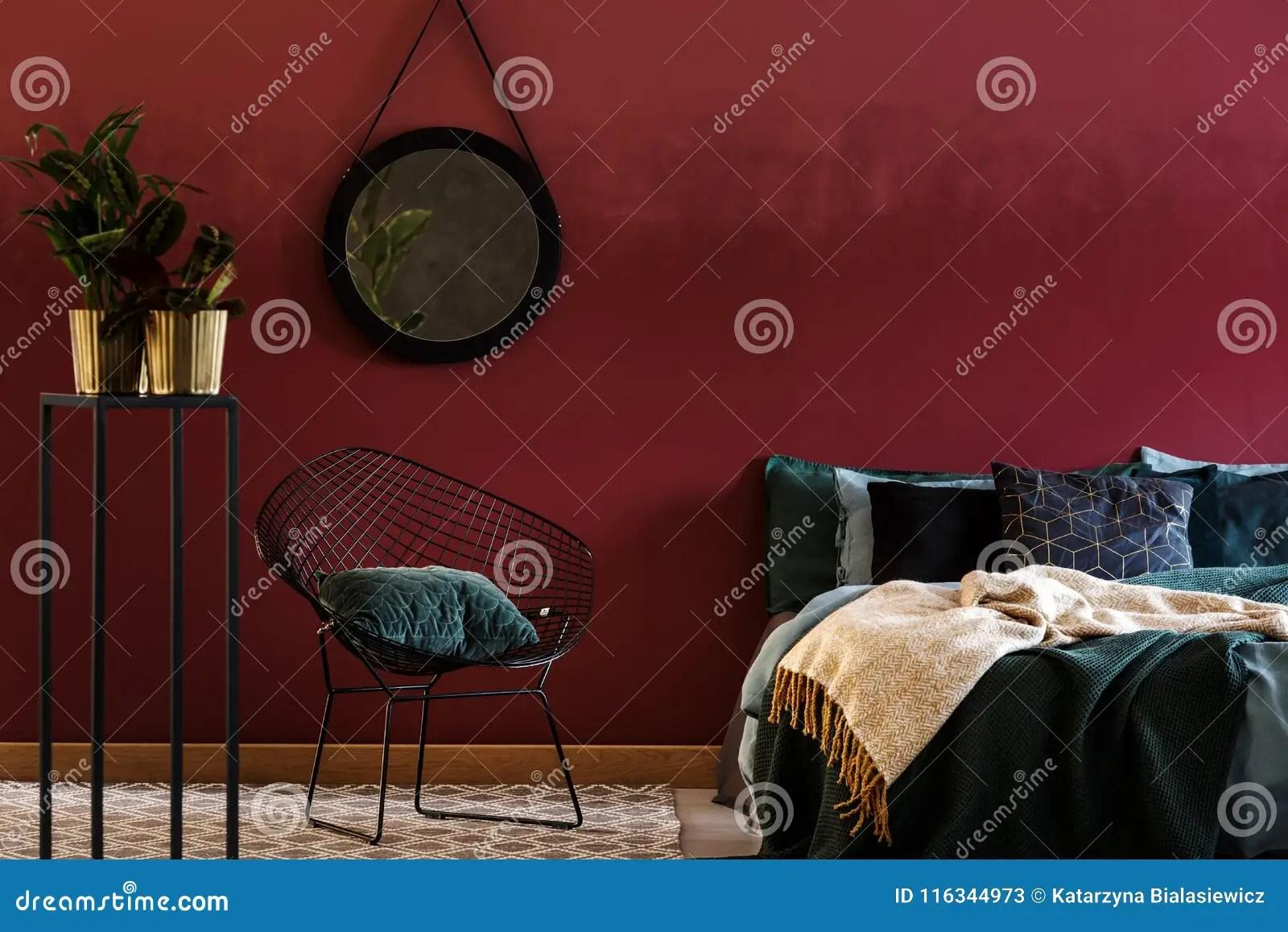 dark red bedroom interior