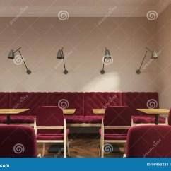 Red Sofa Cafe Baku Leggett And Platt Sleeper Parts Dark Interior Rounded Window Stock Illustration