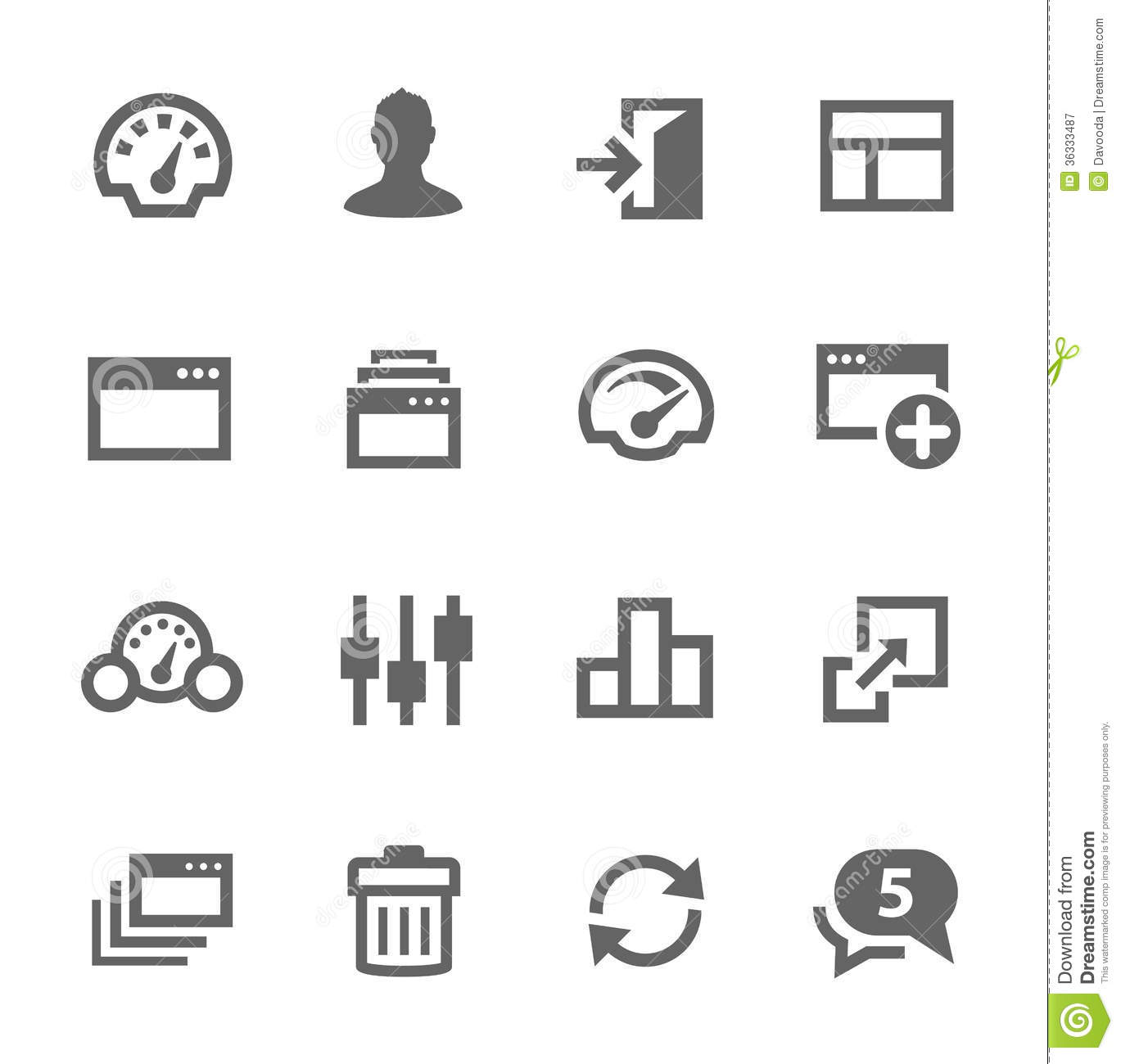 Dashboard Icons Set. Royalty Free Stock Photography