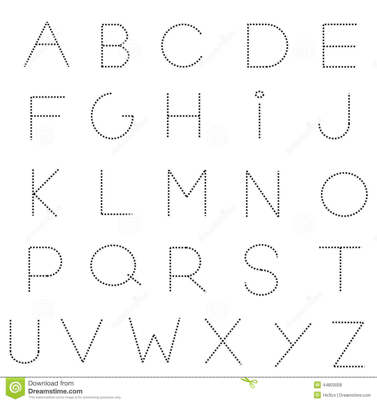 Dashed Line Alphabet Set Stock Vector Illustration Of