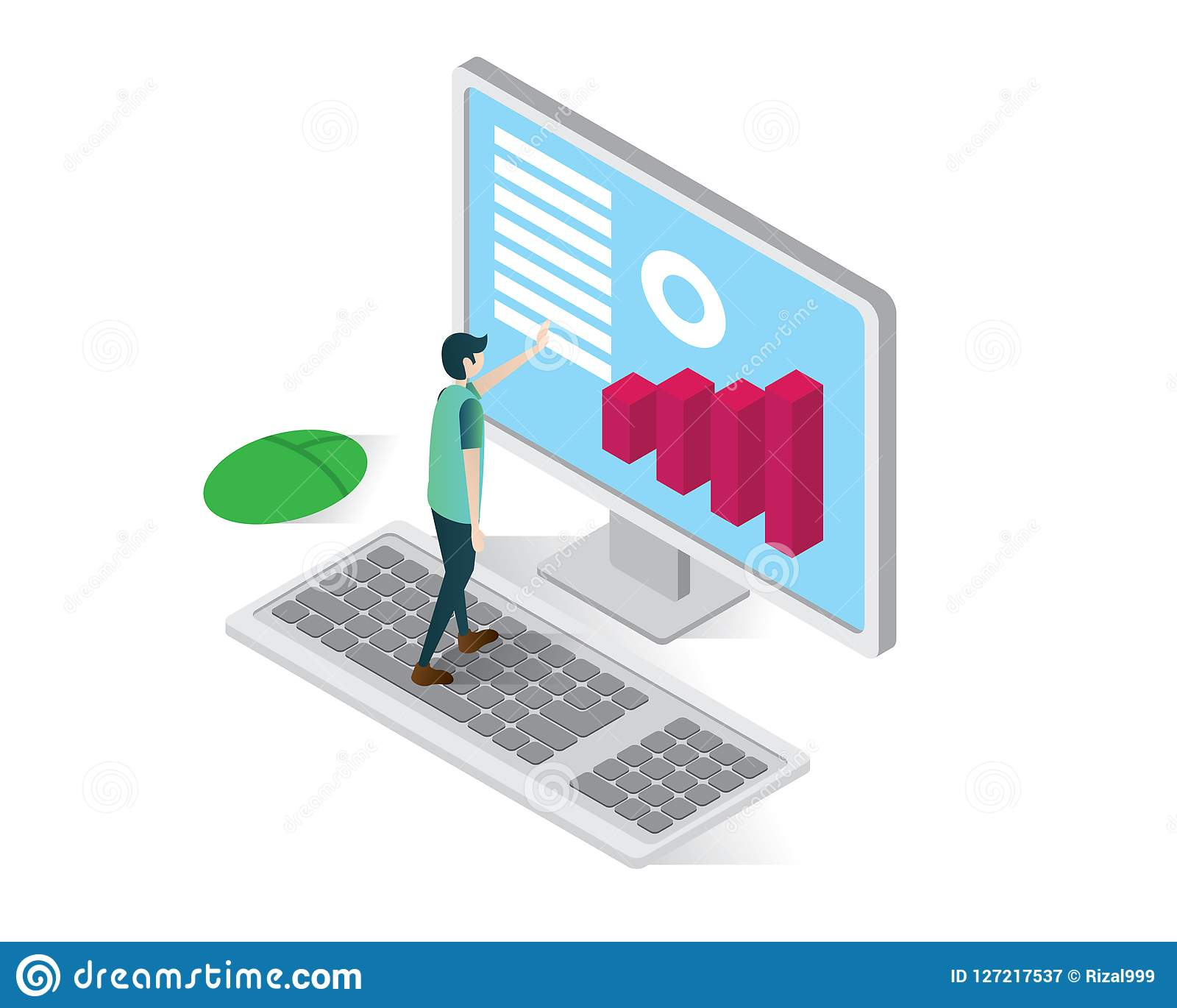 hight resolution of data analysis isometric icons concept business computer illustration vector diagram on computer isometric