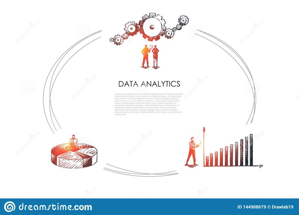 medium resolution of data analytics business people looking at data schedule and gear and sitting od diagram vector concept set hand drawn sketch isolated illustration
