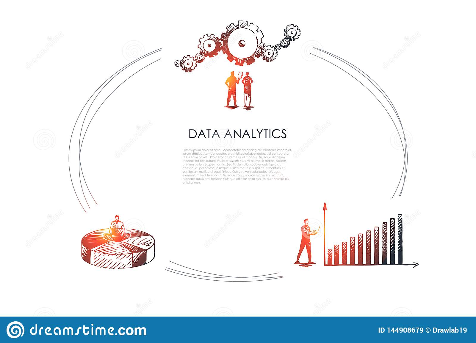 hight resolution of data analytics business people looking at data schedule and gear and sitting od diagram vector concept set hand drawn sketch isolated illustration