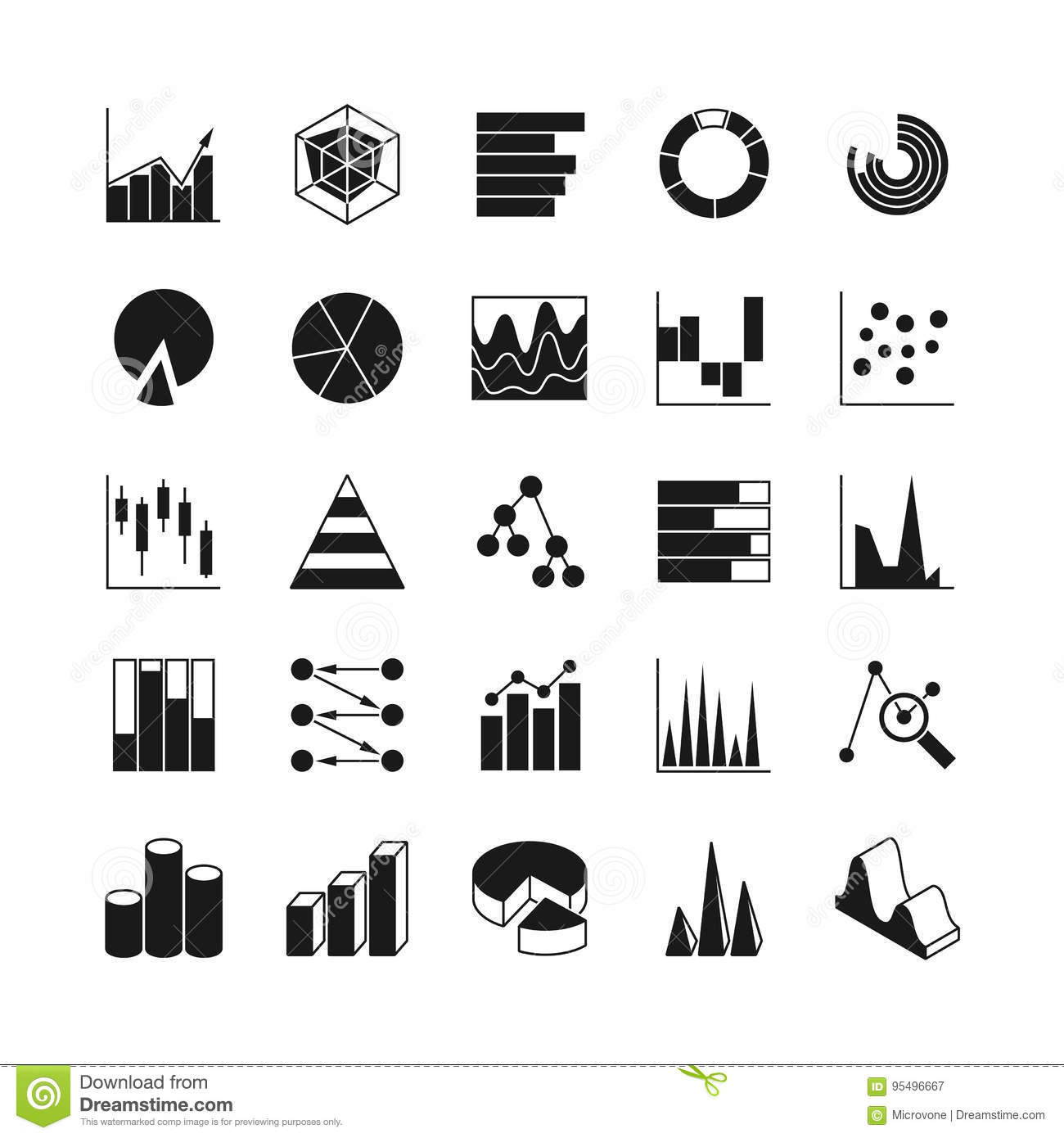 Data Bar Graphic And Statistics Charts Vector Icons