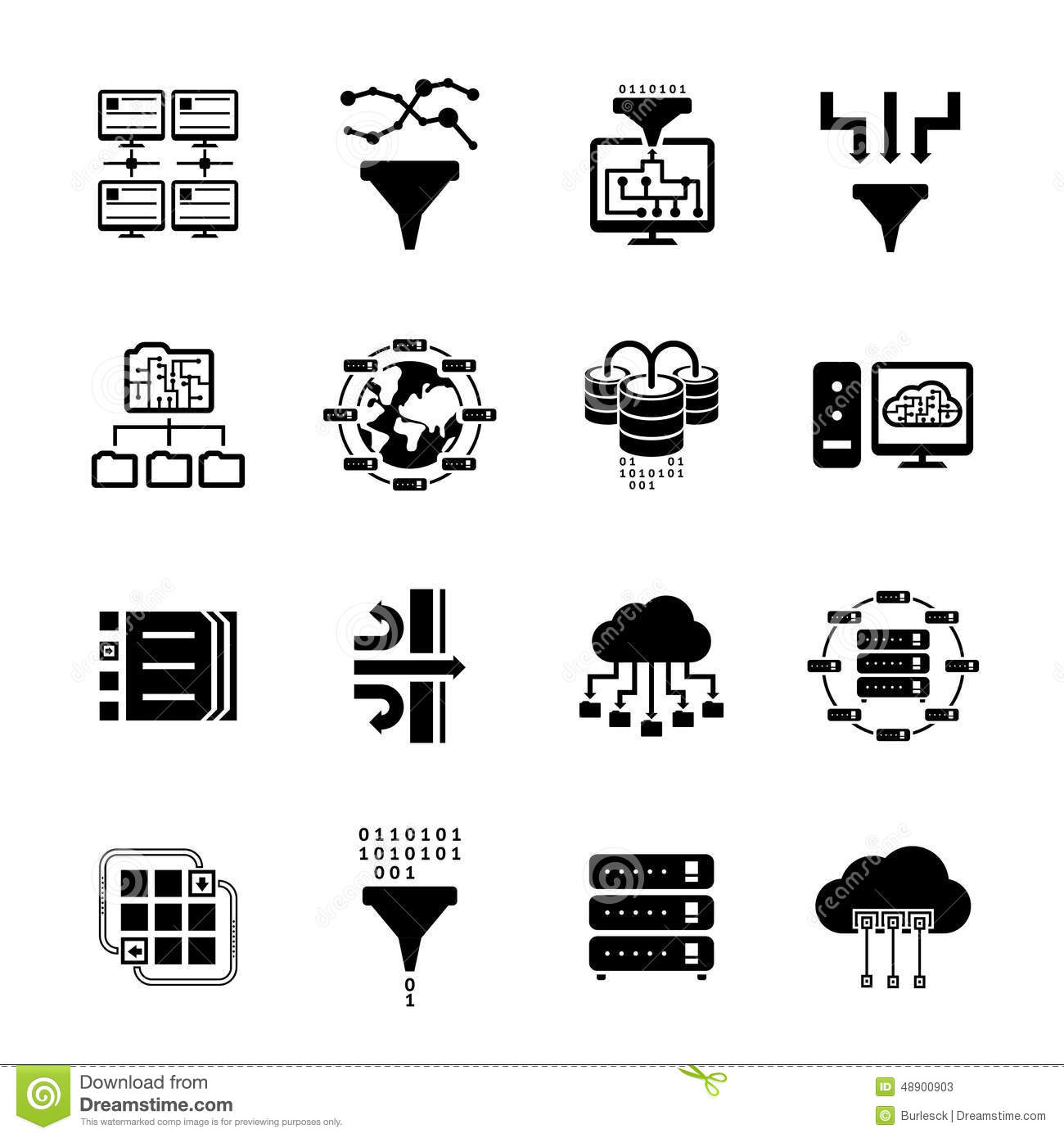 Data Filter And Data Transfer Icons Stock Vector