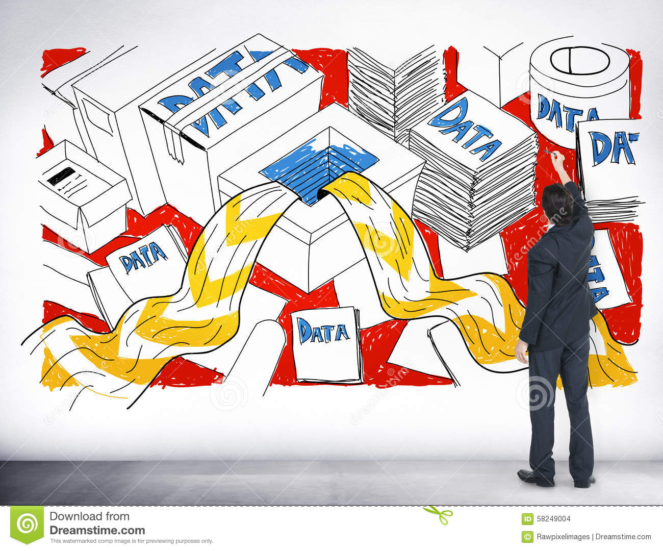 Data Information Overflow Excess Sketch Concept Stock Photo - Image of businessman. thinking: 58249004