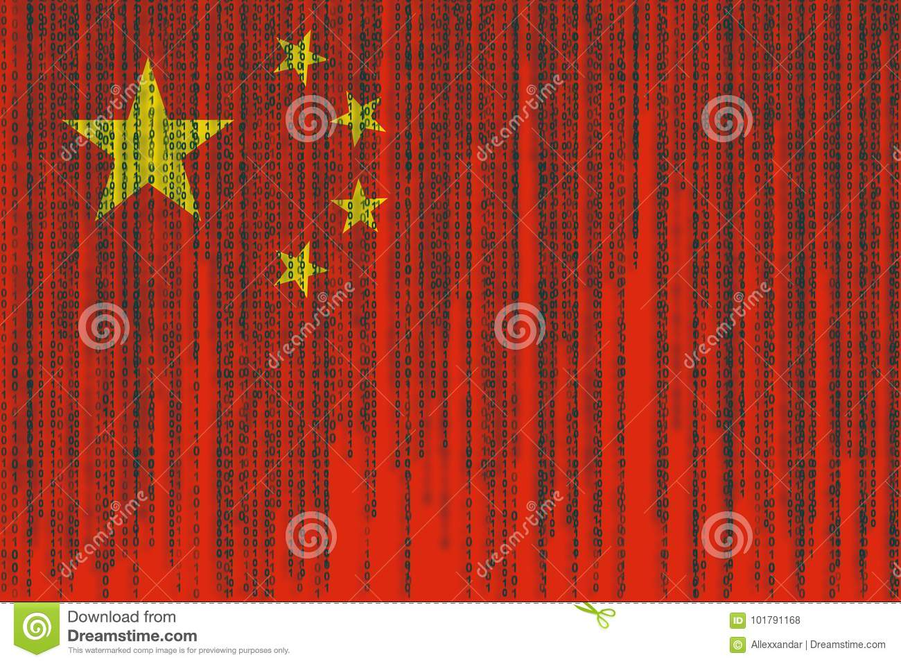 Data Protection China Flag. Chines Flag With Binary Code. Stock Illustration - Illustration of national. number: 101791168