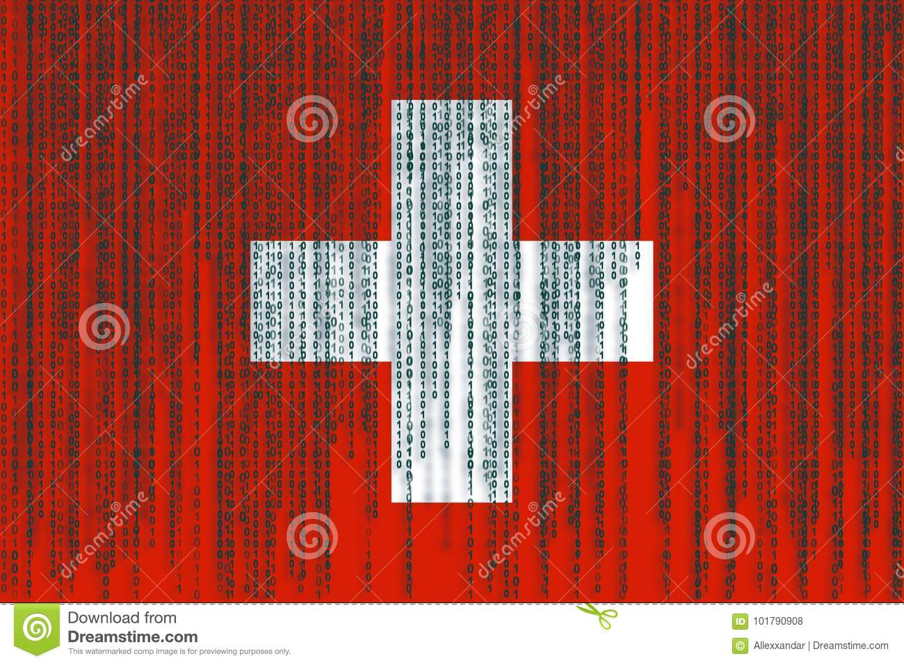 Data Protection Switzerland Flag. Swiss Flag With Binary Code. Stock Illustration - Illustration of bright. science: 101790908