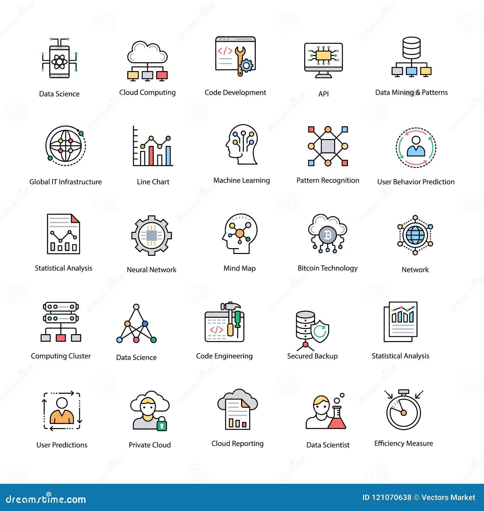Data Science Flat Vector Icons Set Stock Illustration