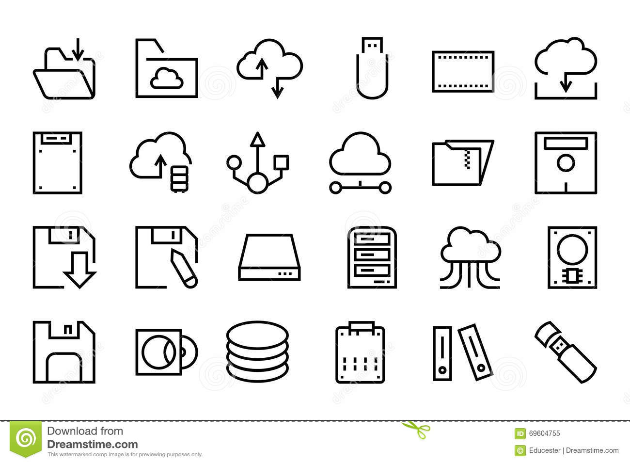 Data Storage Vector Line Icons 2 Stock Illustration