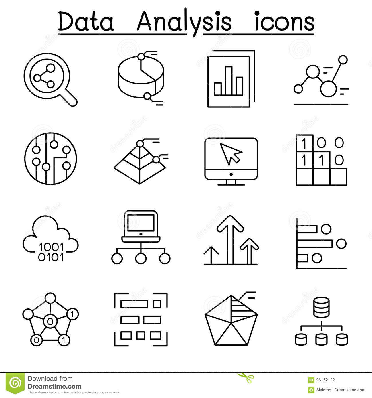 Database , Data & Graph Icon Set In Thin Line Style Stock