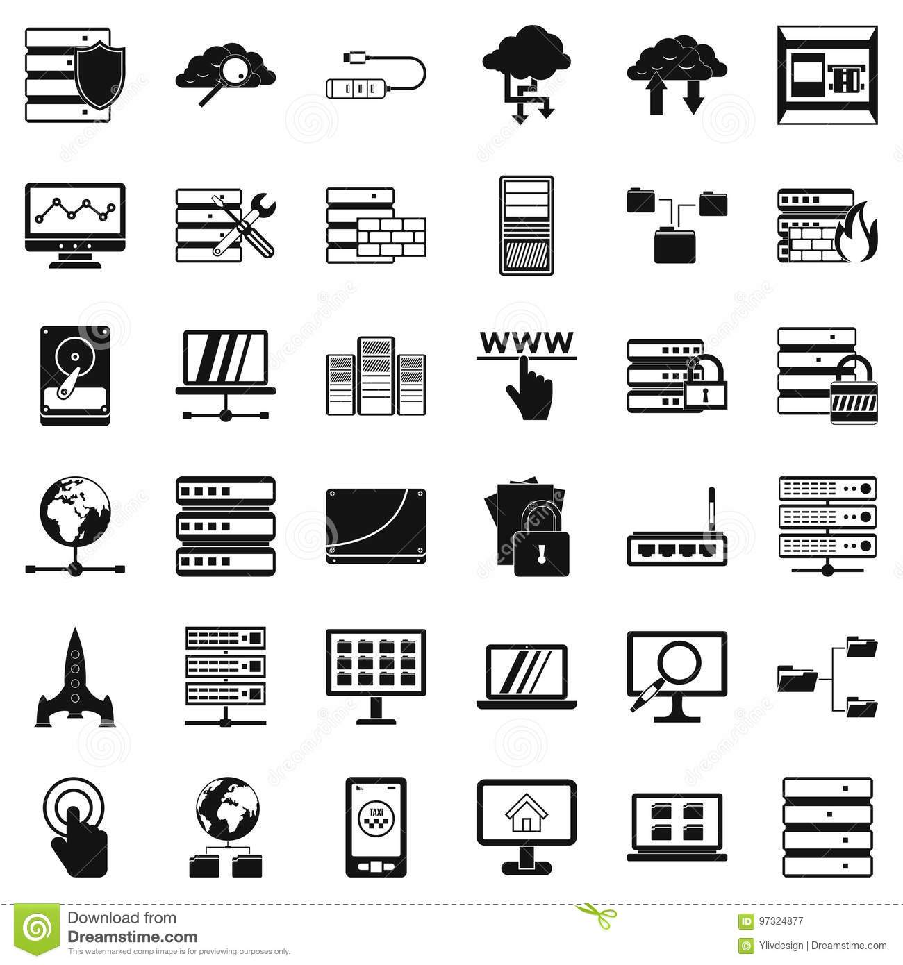 Database Icons Set, Simple Style Stock Vector