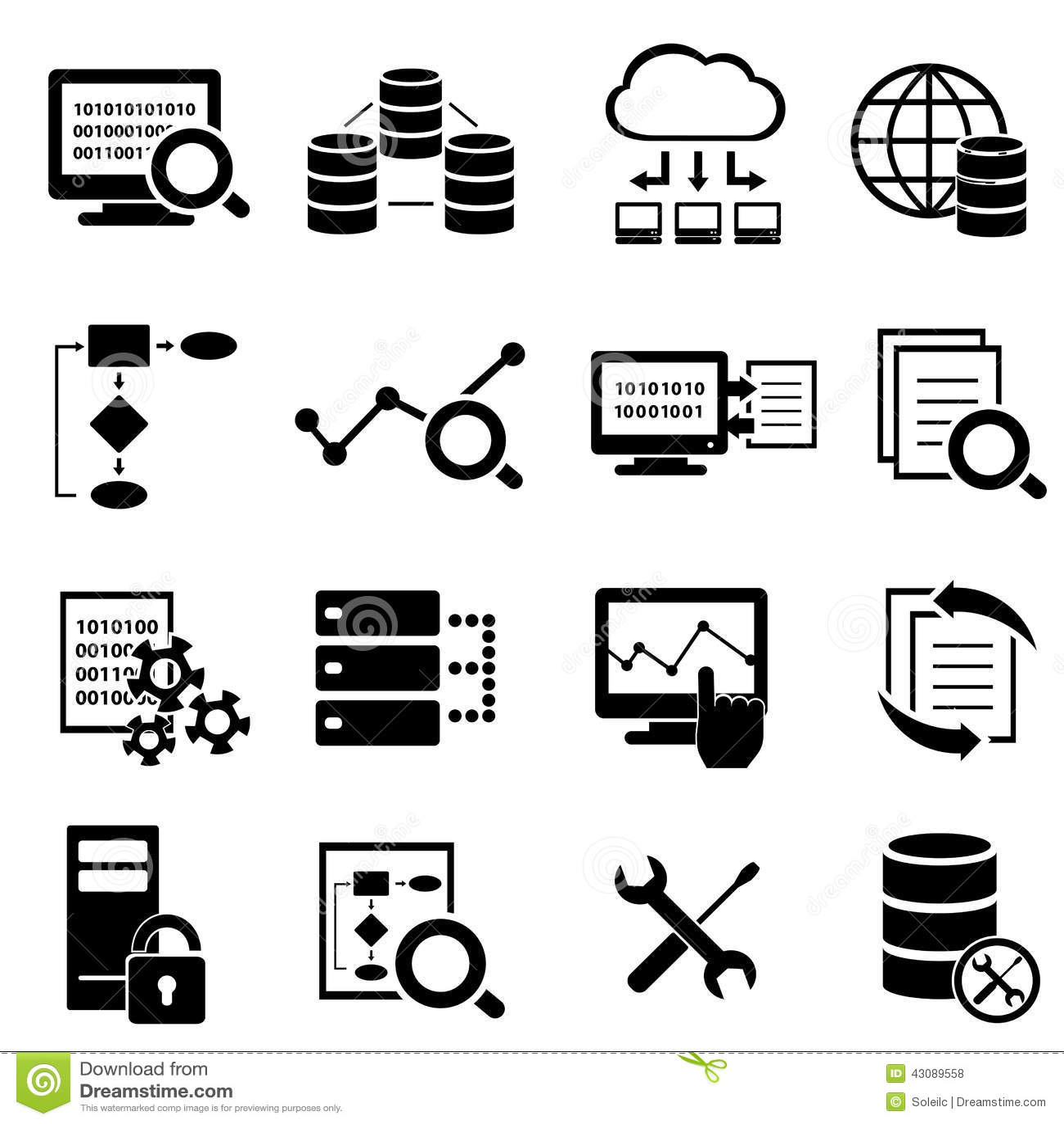 Datos Computacion De La Nube E Iconos Grandes De La