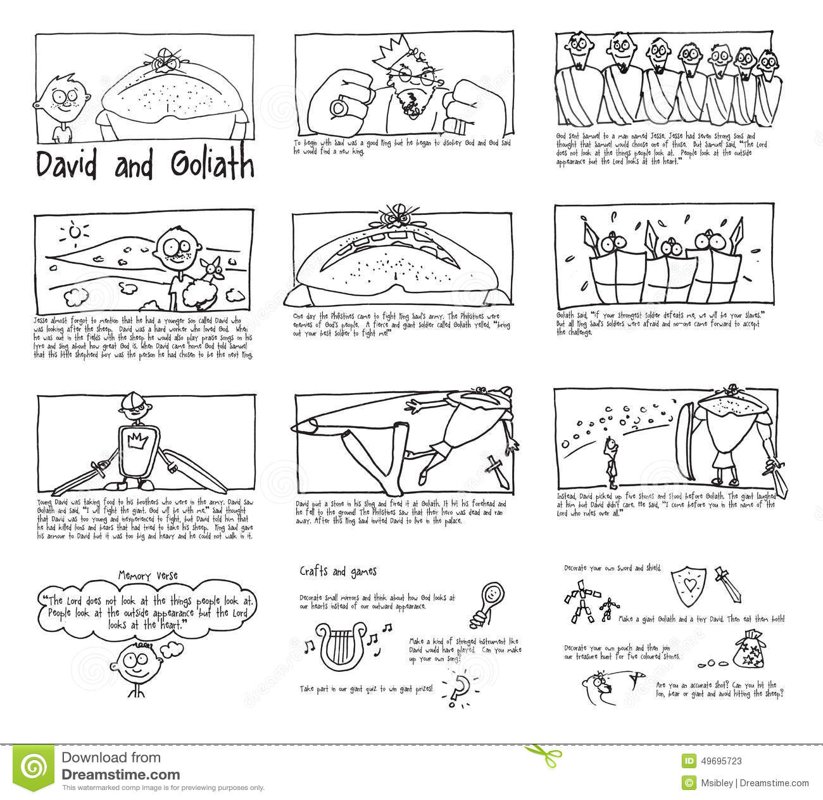 David Und Goliath Sunday School Bildgeschichte Stock
