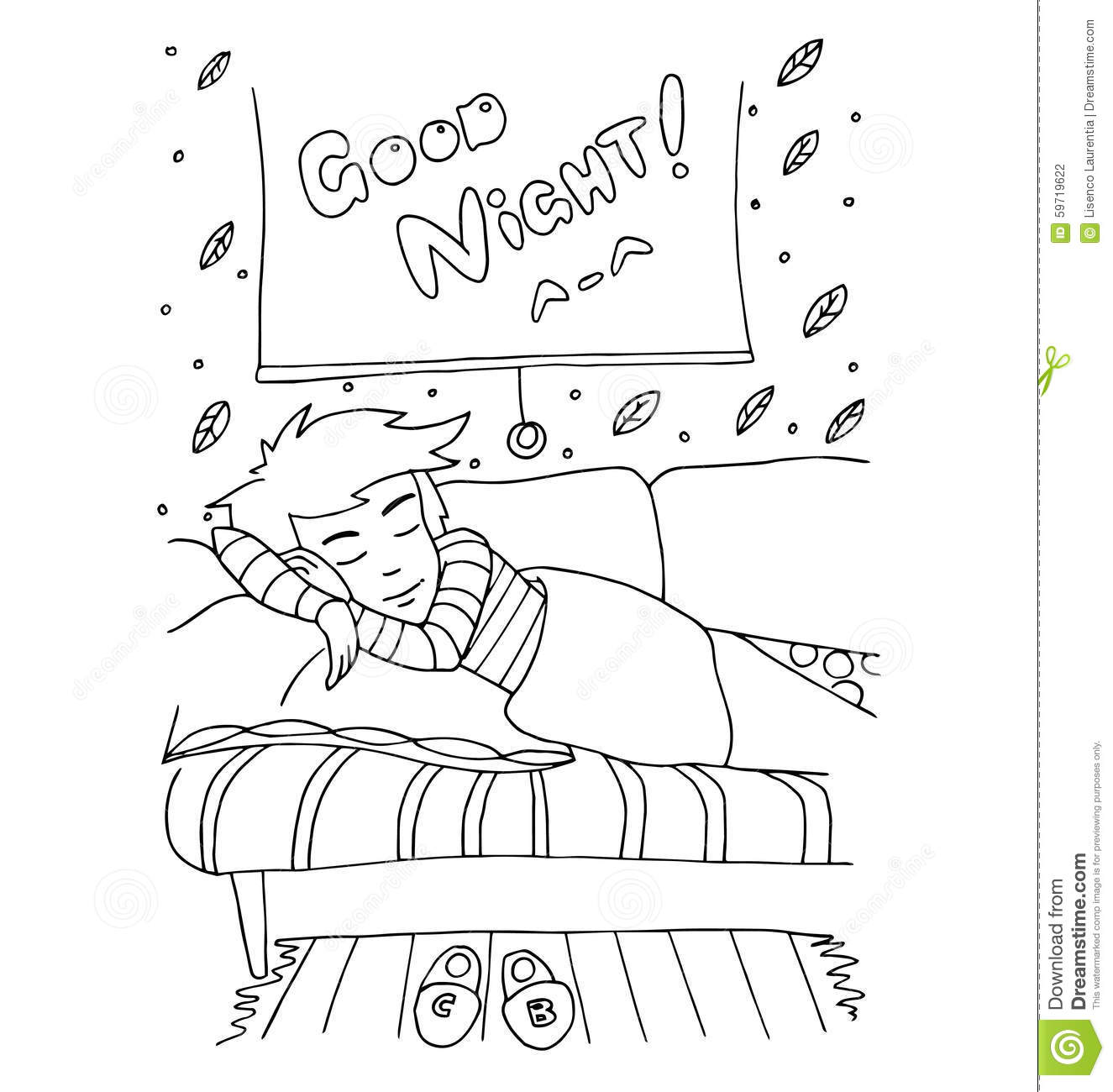 The Daily Day For Boy Student For Coloring Stock Vector