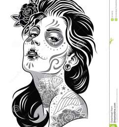 day of dead girl black and white illustration illustration 31718710 megapixl [ 1110 x 1300 Pixel ]