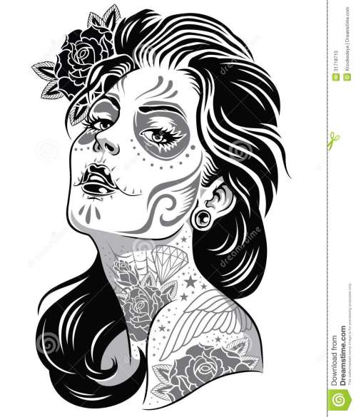 small resolution of day of dead girl black and white illustration illustration 31718710 megapixl